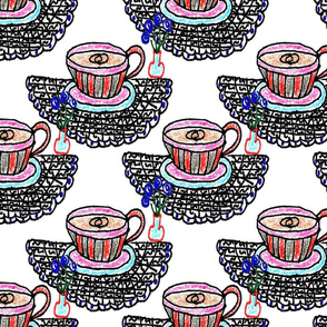 Teacups on Doodle Doilies (large)