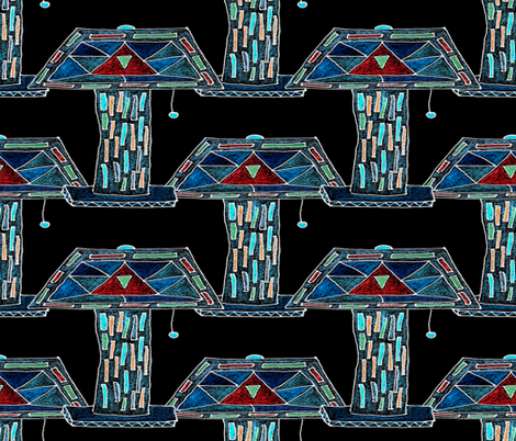 Lamp with Stained Glass Shade fabric by anniedeb on Spoonflower - custom fabric