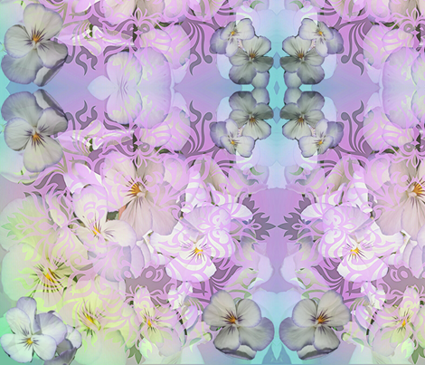 Pansies In Pastels fabric by charldia on Spoonflower - custom fabric