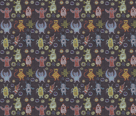 crayon_monsters fabric by katesbeads on Spoonflower - custom fabric