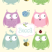 Owl Friends -Pink Personalized Lt Blue Text