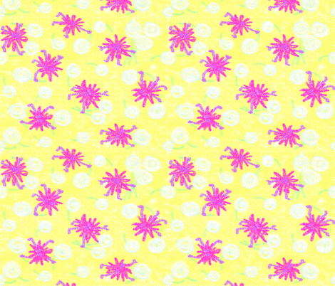 Mini-monsters play with dandelions fabric by hpdesigns on Spoonflower - custom fabric