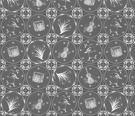 Delft Tiles Chalkboard fabric by glimmericks on Spoonflower - custom fabric