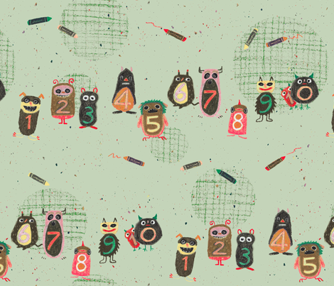 Schoolmonsters green fabric by sanneteloo on Spoonflower - custom fabric