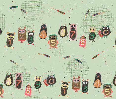 Schoolmonsters green fabric by sanneteloo on Spoonflower - custom fabric