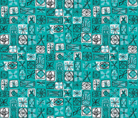 Castaway Cloth - lagoon fabric by sophista-tiki_by_dawn_frasier on Spoonflower - custom fabric