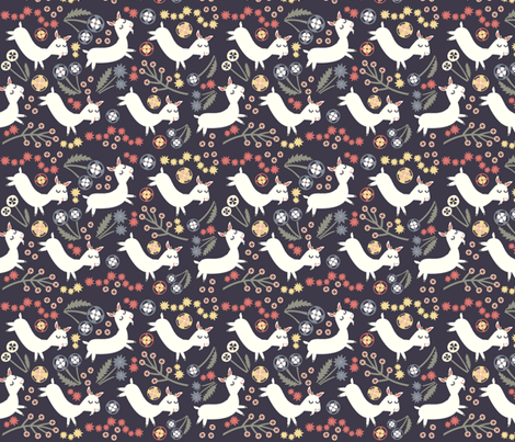 Goats Frolic (navy) fabric by heidikenney on Spoonflower - custom fabric