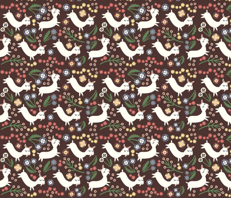 Goats Frolic (brown) fabric by heidikenney on Spoonflower - custom fabric