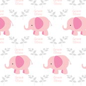 Elephants in A Row - Pink/Gray leaves  personalized-pink text  GRACE OLIVIA
