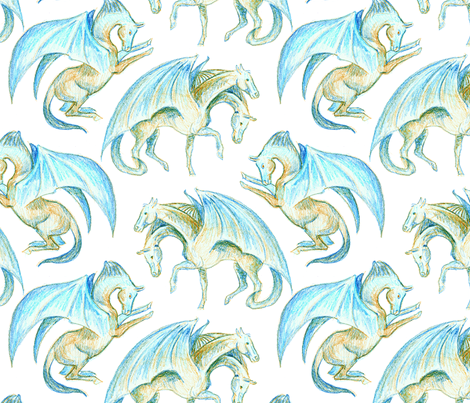 Dragonhorses fabric by eclectic_house on Spoonflower - custom fabric