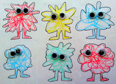 scribble monsters with goggly eyes