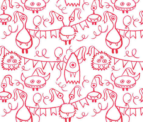 Party monsters fabric by heleenvanbuul on Spoonflower - custom fabric