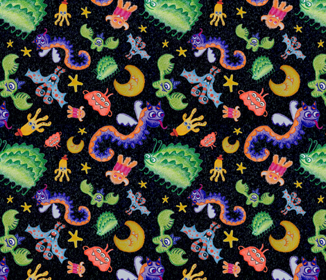 Crayon Monsters! fabric by aawalkie on Spoonflower - custom fabric