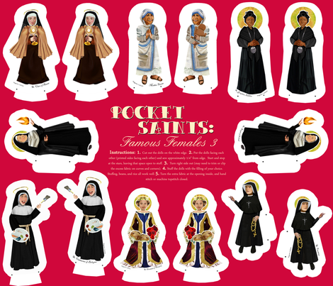 Famous Female Saints 4 fabric by magneticcatholic on Spoonflower - custom fabric