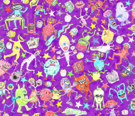 Monster of a party (purple background) fabric by ladykerry on Spoonflower - custom fabric