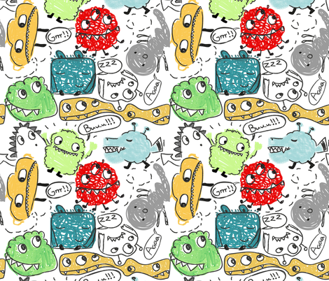 mini monsters fabric by mondebettina on Spoonflower - custom fabric