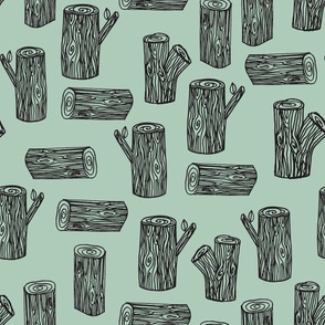 tree logs // forest woodland tree stump mint kids baby nursery sweet camping woodland nursery wallpaper