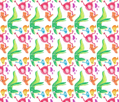 crayon monsters small fabric by tartangirl44 on Spoonflower - custom fabric