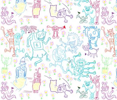 little monsters' sports day fabric by gray___ on Spoonflower - custom fabric