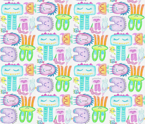 Happy-No-Arms-Monsters fabric by tiffany_r on Spoonflower - custom fabric