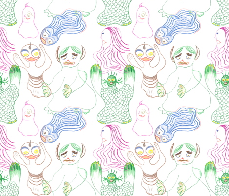 Waterman_and_friends_a fabric by ruthjohanna on Spoonflower - custom fabric
