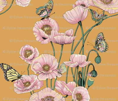 Poppies_and_Butterflies_Pastel_on_gold.