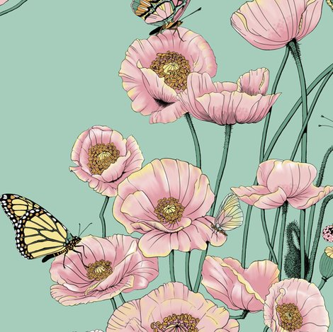 Rrrrpoppies_and_butterflies_pastel_on_pale_teal_bg_shop_preview