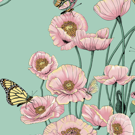 Pink Poppies_and_Butterflies on_Pale_Aqua. fabric by art_on_fabric on Spoonflower - custom fabric