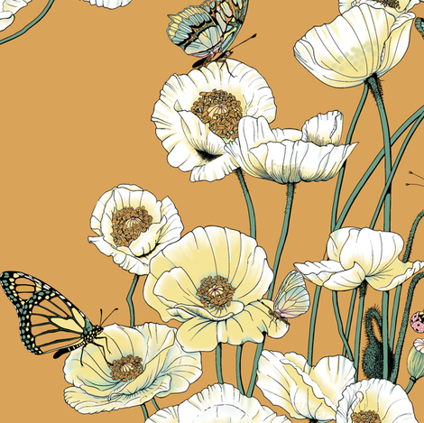White and Pale Yellow Poppies on Gold. fabric by art_on_fabric on Spoonflower - custom fabric