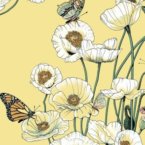 Poppies_and_Butterflies_Pale_yellow_blossoms_on_pale_yellow