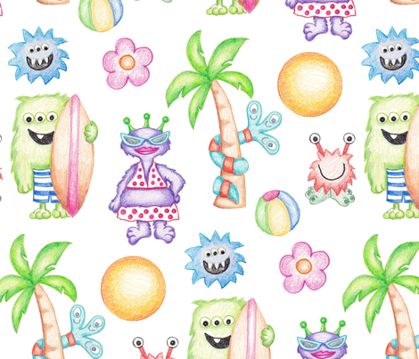 Crayon Monsters Ready for Summer fabric by designs_by_lisa_k on Spoonflower - custom fabric