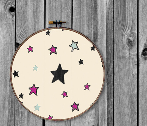 Paper Moon Collection - Pink Black Mint Green Stars on Cappuccino Cream