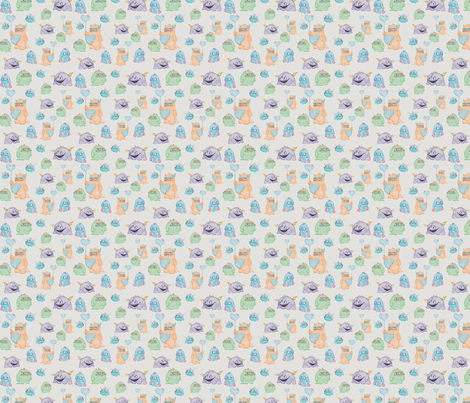 Cute Monsters in Crayon fabric by crowlands on Spoonflower - custom fabric