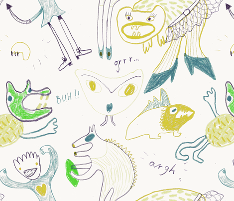 Shoe_monsters fabric by amanda_boierth on Spoonflower - custom fabric