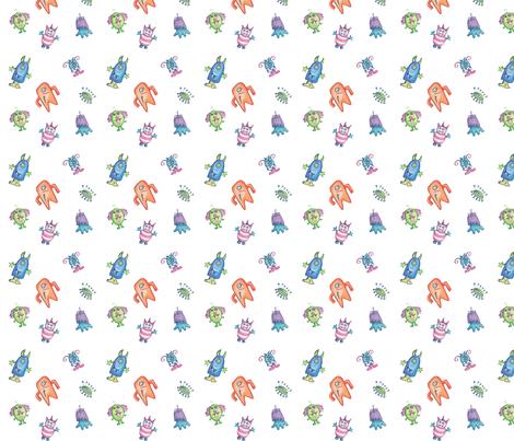 happy crayon monsters-1 fabric by pamela_hamilton on Spoonflower - custom fabric