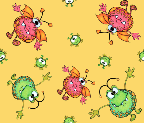 Baby monsters on yellow fabric sunshine creations for Baby monster fabric