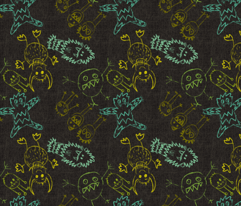 crayon monters dark fabric by maja_studio on Spoonflower - custom fabric