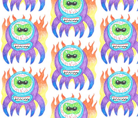 Purple Crayon Fire Monsters fabric by art_rat on Spoonflower - custom fabric