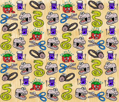 Sew Scary fabric by 715designstudio on Spoonflower - custom fabric