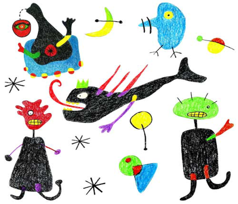 Miro inspired monsters fabric by birdonherhead on Spoonflower - custom fabric