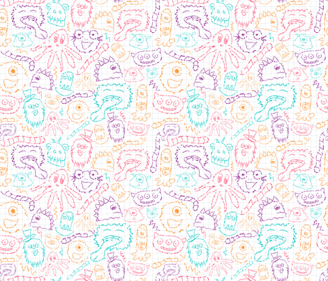 Fuzzy-Wuzzy-Monsters fabric by lydesign on Spoonflower - custom fabric