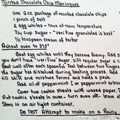 handwritten Grandma's recipes for tea towel printout