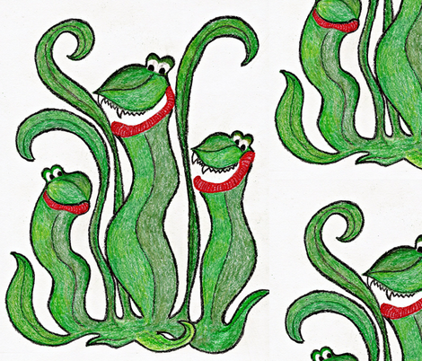 Crayon Monster -Pitcher Plant fabric by friday's_bluebird on Spoonflower - custom fabric