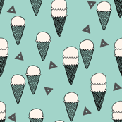 Ice Cream Cones - Mint (Pale Turquoise) by Andrea Lauren