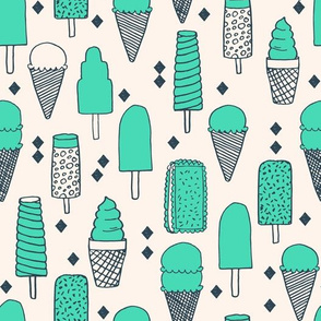 Ice Cream Varieties - Light Jade/Parisian Blue by Andrea Lauren
