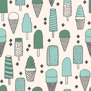 Ice Cream Varieties - Mints - Champagne/Viridian/Pale Turquoise by Andrea Lauren