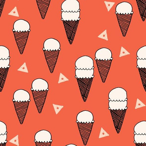 Ice Cream Cones - Strawberry - Blush/Coral by Andrea Lauren