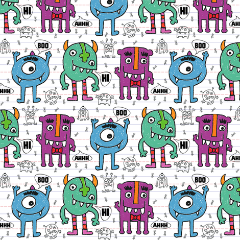 Monsters + Mosquitos (crayon)    fabric by pattyryboltdesigns on Spoonflower - custom fabric