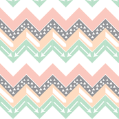 Mint, Blush, Peach, Grey Triangle Arrow Chevron