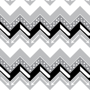 Black, Grey, White Arrow Triangle Chevron